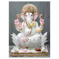 Pure White Marble Ganpati Ji Statue For Temple