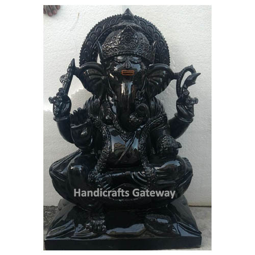 Handmade Black Stone Ganesha Statue For Home Temple