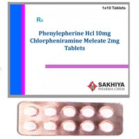 Phenylephrine Hcl 10mg + Chlorpheniramine Meleate 2mg Tablets