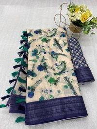 Digital Printed Linen Sarees