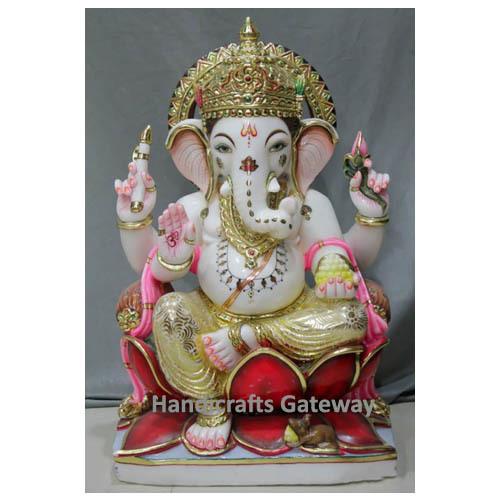 Antique Multicolor Marble Ganesh Sculpture