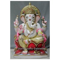 Antique Multicolor Marble Ganesh Sculpture