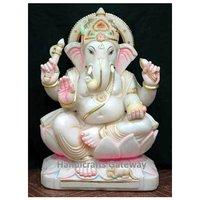 Pure White Vietnam Marble Lord Ganesha Murti