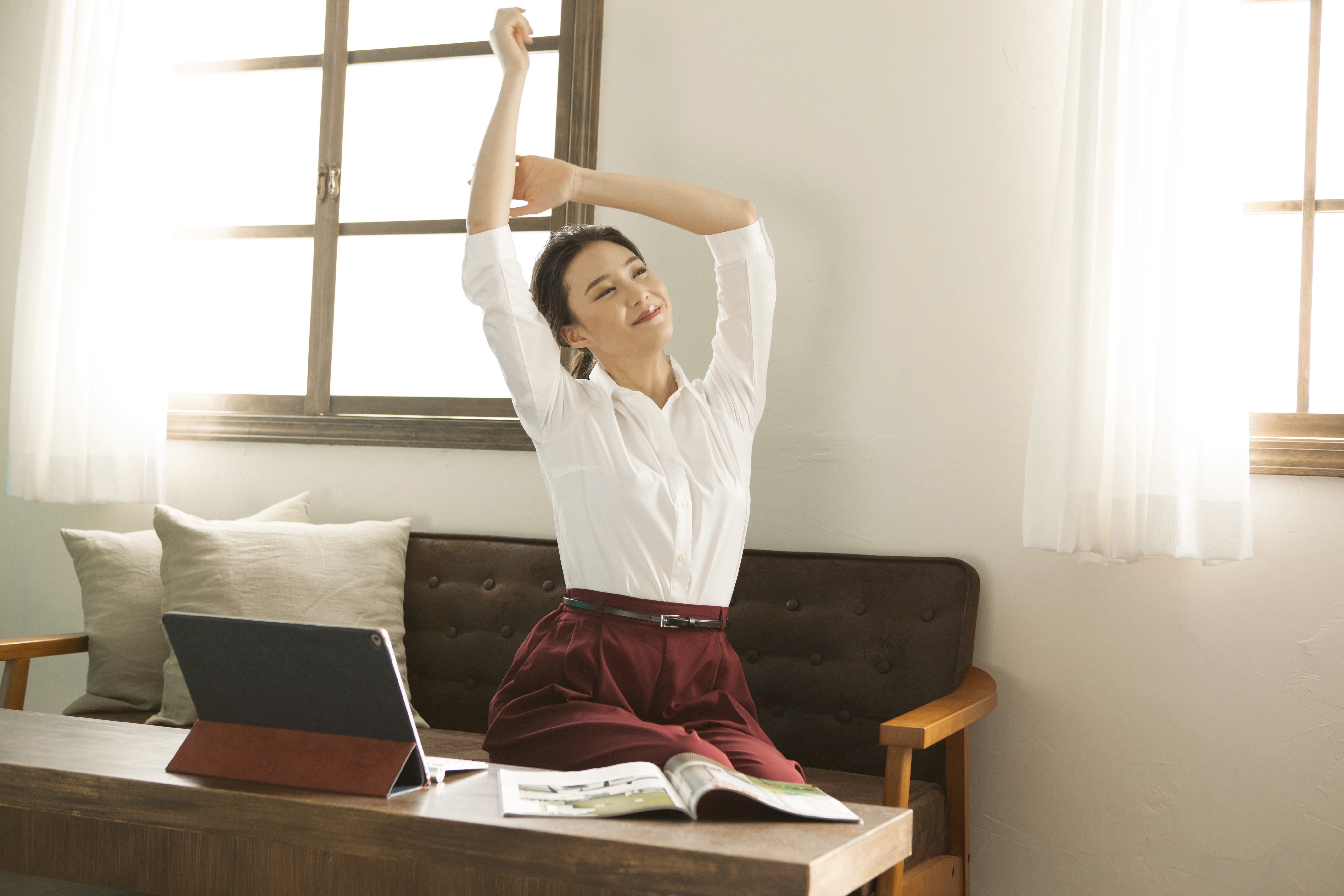 Premium Stretch Easy Care Long Sleeve Bodysuit Shirt White Frill