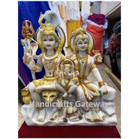 Beautiful Marble Shiv Family Statue For Temple