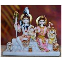 Handmade Marble Shiv Parvati Sculpture