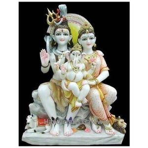 White Marble Shiva Parvati Moorti For Home Temple