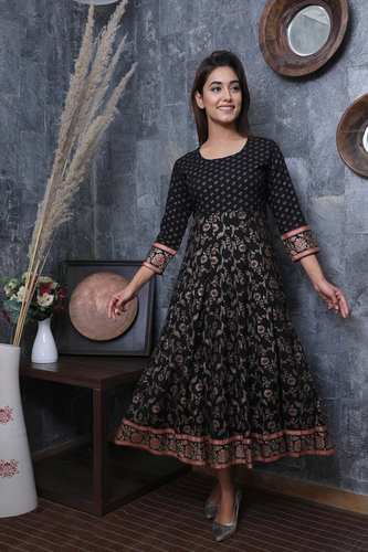 Anarkali  Gold Printed Gown