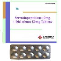 Serratiopeptidase 10mg + Diclofenac 50mg Tablets