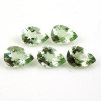 6x9mm Green Amethyst Faceted Pear Loose Gemstones