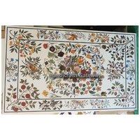 Antique White Marble Pietra Dura Design Table Top
