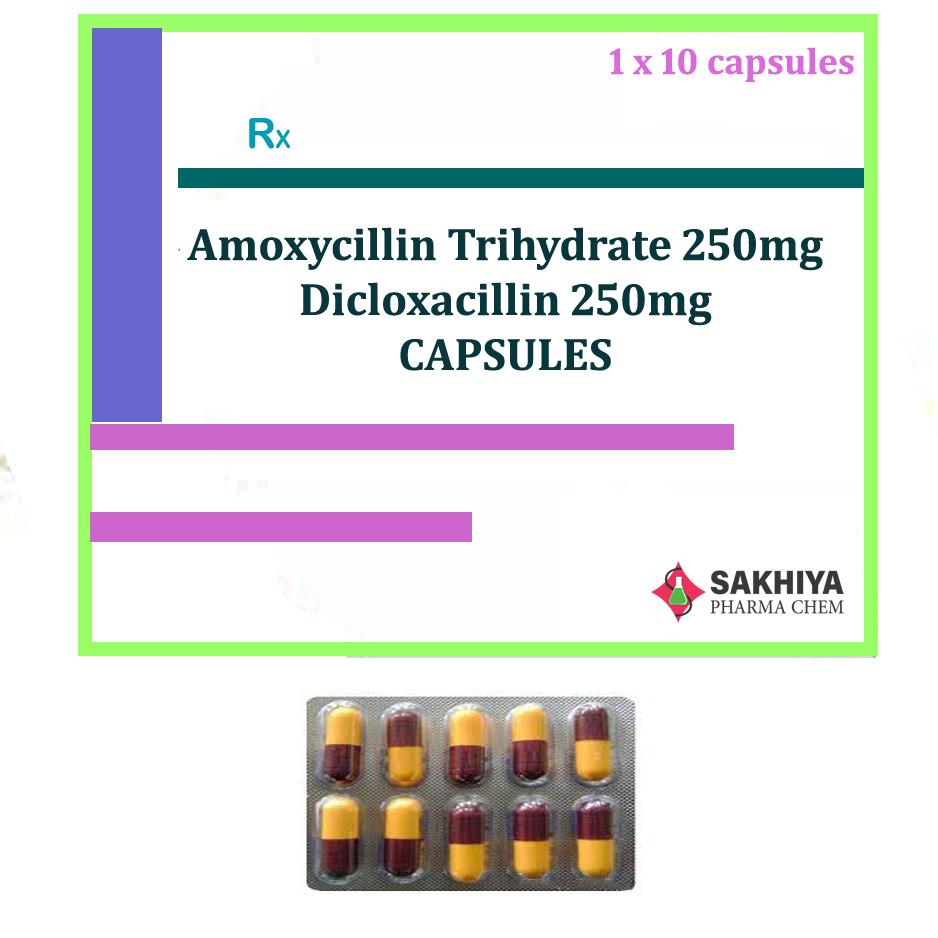 Amoxicillin Trihydrate 250mg + Dicloxacillin 250mg Capsules