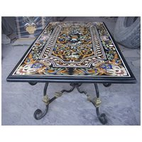Marble Inlay Design Rectangular Dining Table For Dining Room
