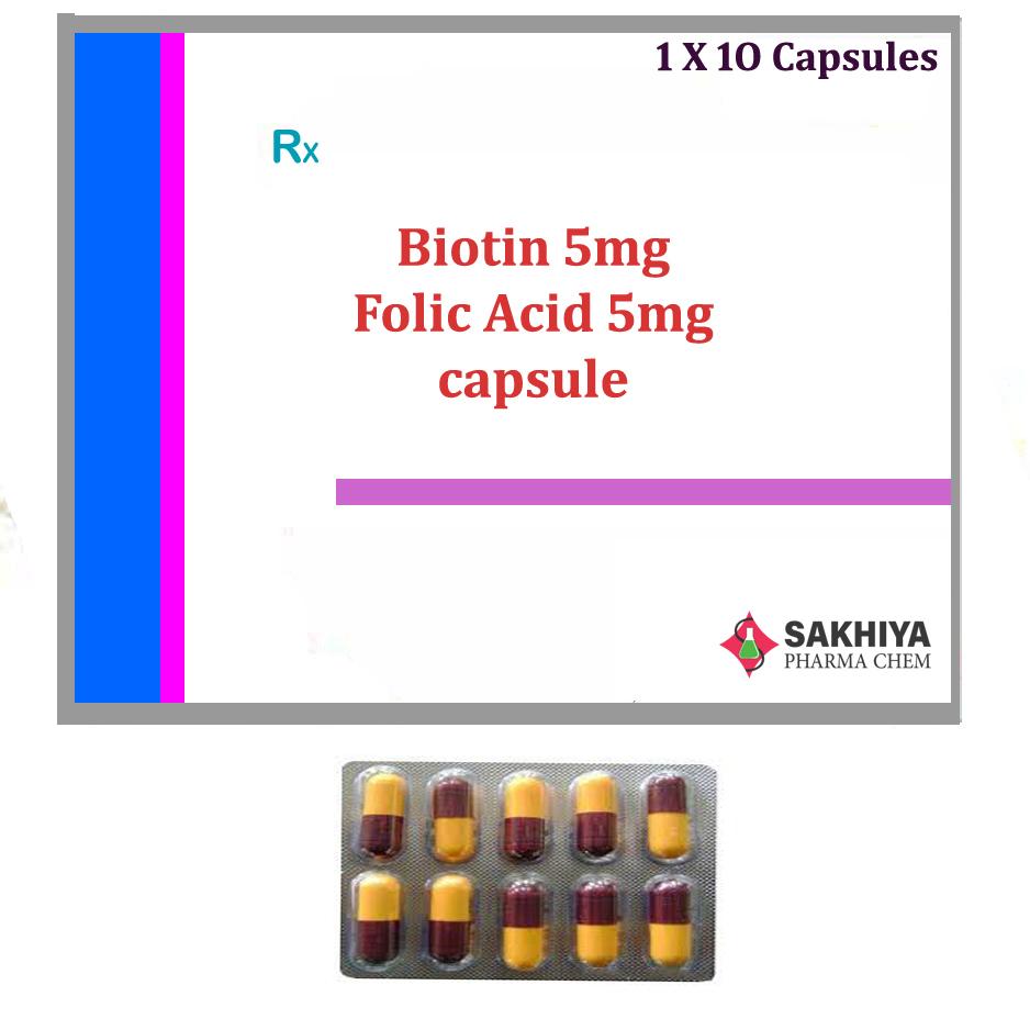 Biotin 5mg + Folic Acid 5mg Capsule