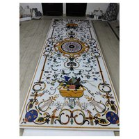 Exclusive Big Size White Marble Inlaid Dining Table Top