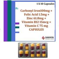 Carbonyl Iron 100mg + Folic Acid 1.5mg + Zinc 61.8mg +Vitamin B12 15mcg + Vitamin C 75 mg Capsules