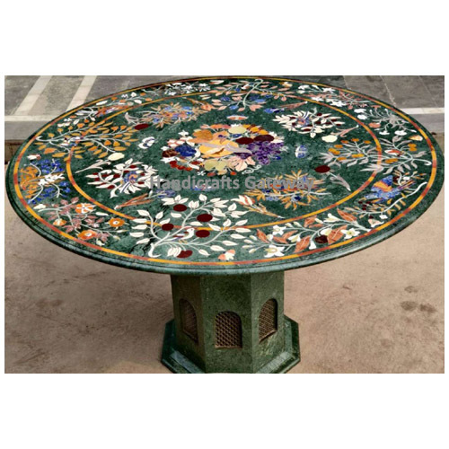 Decorative Marble Inlay Dining Table Top With Marble Base