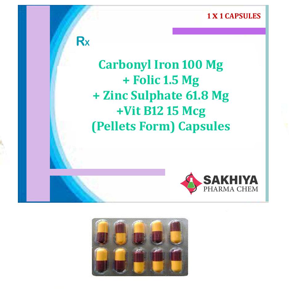 Carbonyl Iron 100mg + Folic Acid1.5mg + Zinc Sulphate 61.8mg +Vitamin B12 15mcg Capsules