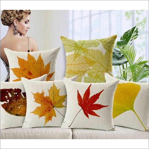 Leaf Printed Pillow Cover