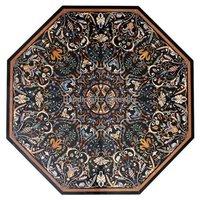 Beautiful Octagonal Shape Marble Pietra Dura Design Table Top