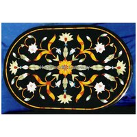 Black Marble Oval Shape Dining Table