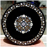 Expensive Black Marble With Mother Of Pearl Flower Design Table Top