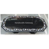 Black Marble Inlay Table Top With Marble Stand