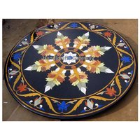 Round Black Marble Inlaid Dining Table