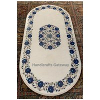 White Marble Oval Shape With Stone Inlay Design Dining Table Top