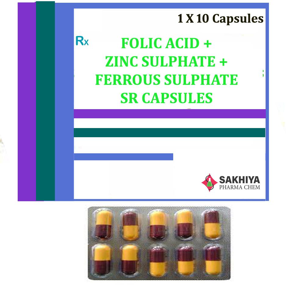 Folic Acid + Zinc Sulphate + Ferrous Sulphate Sr Capsules