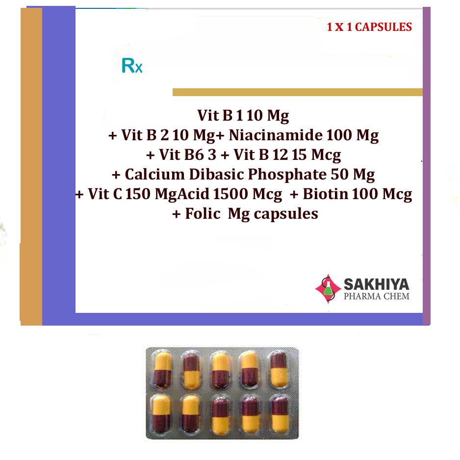 Vit B1 10mg+ Vit B2 10mg+ Niacinamide 100mg+ Vit B6 3mg Capsules