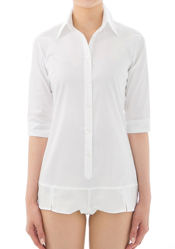 Premium Stretch Easy Care 1/2 Sleeve Bodysuit Shirt White