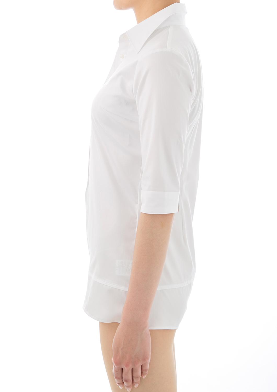 Premium Stretch Easy Care 1/2 Sleeve Bodysuit Shirt White