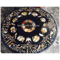 Black Marble Inlay Round Table Top For Restaurant