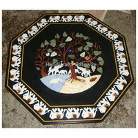 Beautiful Octagonal Black Marble Dining Table