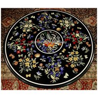 Marble Pietra Dura Design Round Shape Table For Home Use