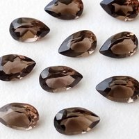 6x9mm Smoky Quartz Faceted Pear Loose Gemstones