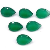 5x7mm Green Onyx Faceted Pear Loose Gemstones