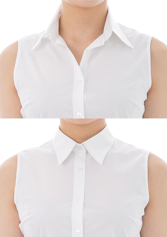 Premium Stretch Easy Care Sleeveless Bodysuit Shirt White
