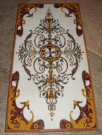 Beautiful Rectangular Marble Inlaid Table Top For Decorative