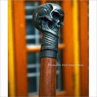 Brass Skull Wooden Head Walking Stick