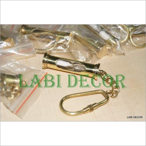 Antique Vintage Brass Sand Timer Key Chain