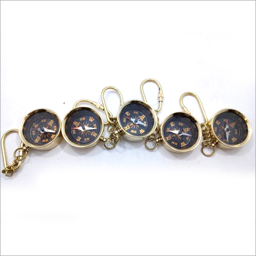 5 Pcs Solid Brass Compass Key Chain