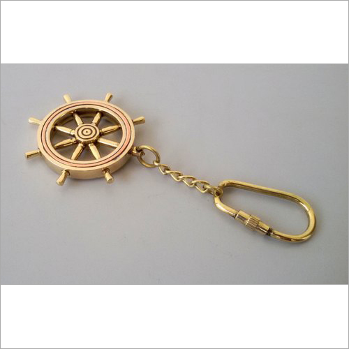 Antique Solid Brass Compass Key Chain Nautical Key Ring