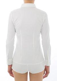 Premium Stretch Easy Care Long Sleeve Bodysuit Shirt White