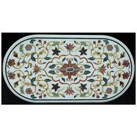Beautiful Oval Shape White Marble Inlay Design Table Top