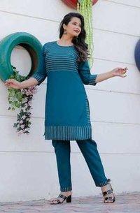Womanica Trendy Rayon Kurtis Pant Set