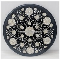 Round Mother Of Pearl Beautiful Inlay Design Coffee Table