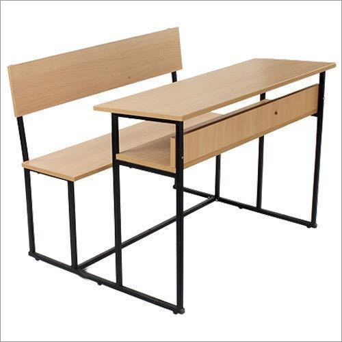 Wooden And Metal Double Seater School Bench
