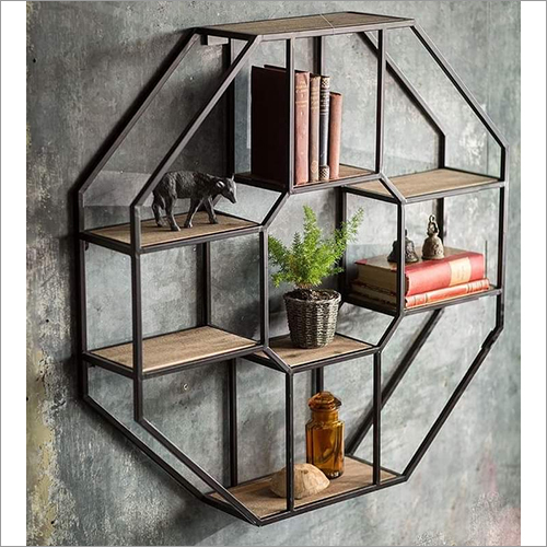 Wooden And Metal Wall Hanging Hex Slab